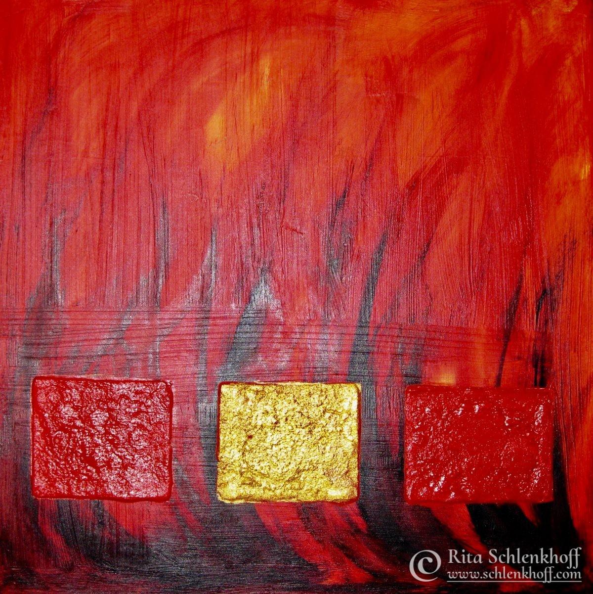 Acryl auf Leinwand 40 x 40 cm, lodernde Flammen