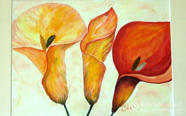 Aquarell Calla-Blüten orange