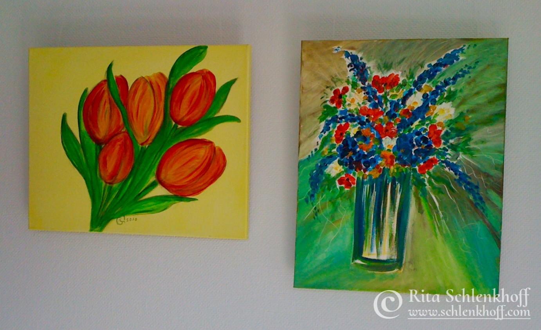 Acryl auf Leinwand 40 x 30 cm, Tulpen und Sommerstrauß