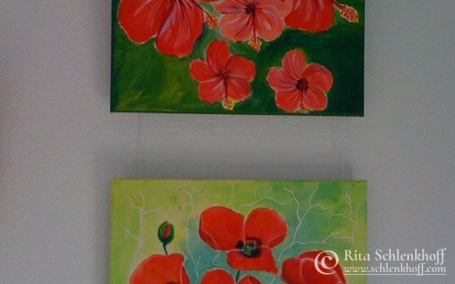 Acryl auf Leinwand 40 x 30 cm, Hibiskus- u. Mohnblüten