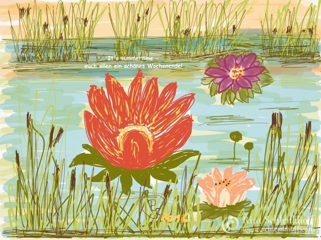 Fingerpainting Postkarte C 6, Seerosen