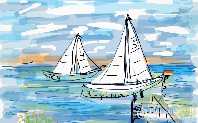 Fingerpainting Postkarte C 6, Segelboot Regina