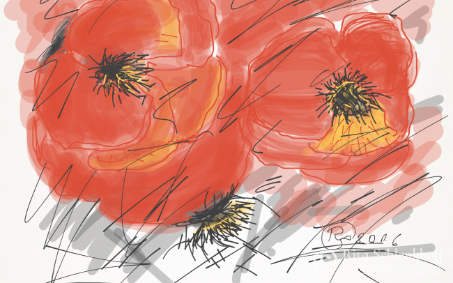 Fingerpainting Postkarte C 6, Klatschmohnblüten im Detail