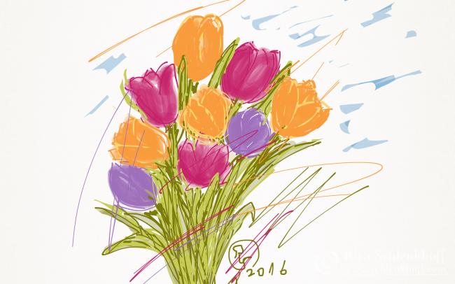 Fingerpainting Postkarten C 6, Tulpen