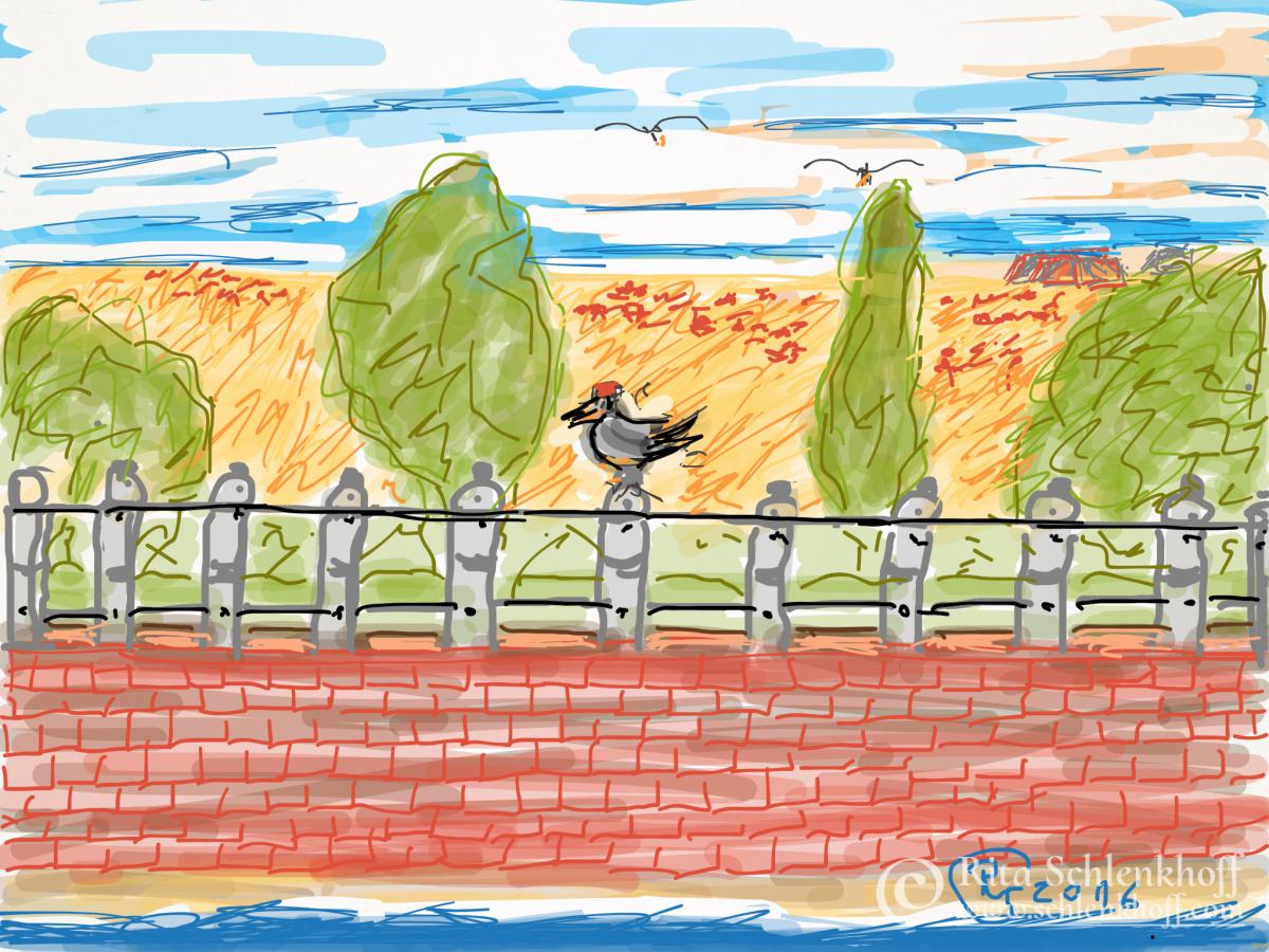 Fingerpainting Postkarte C 6, Auf der Kaimauer