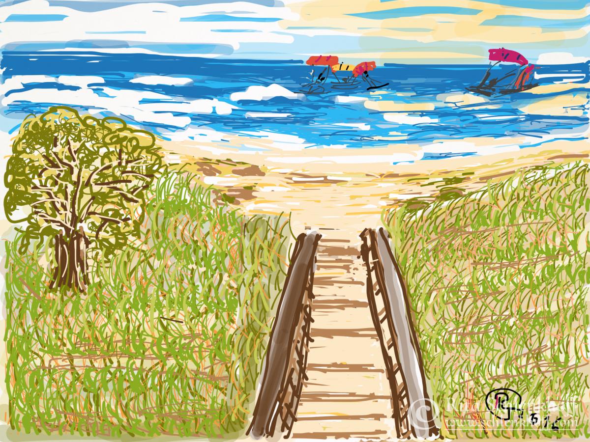 Fingerpainting Postkarte C 6, Kitesurfer
