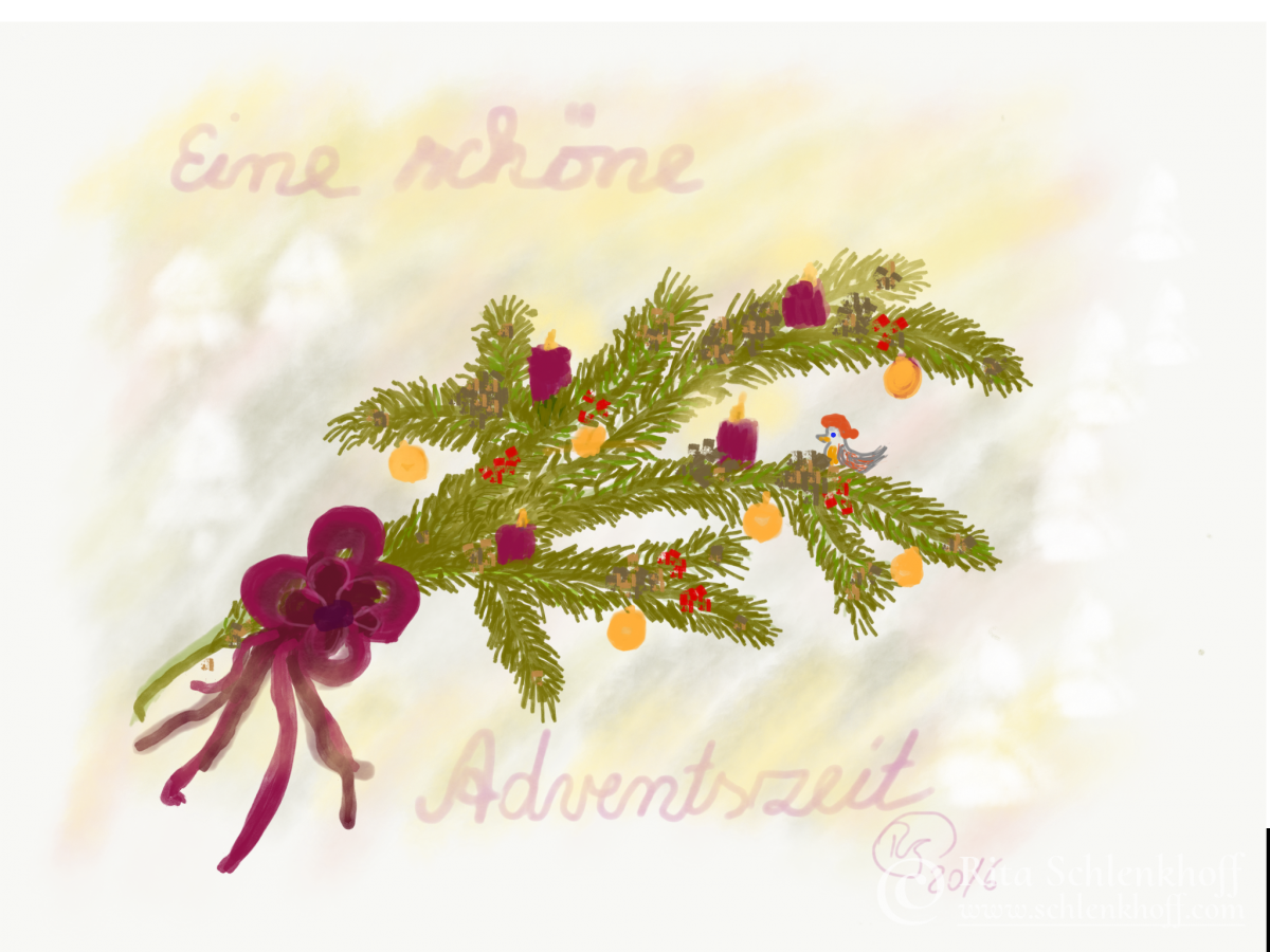 Fingerpainting Postkarte C 6, Adventszeit
