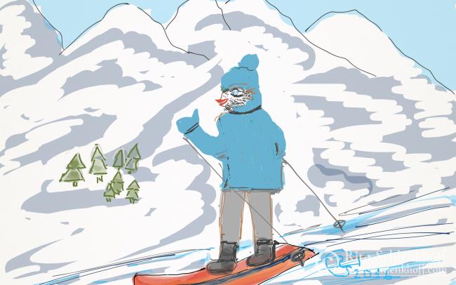 Fingerpainting Postkarte C 6, Snowboarder