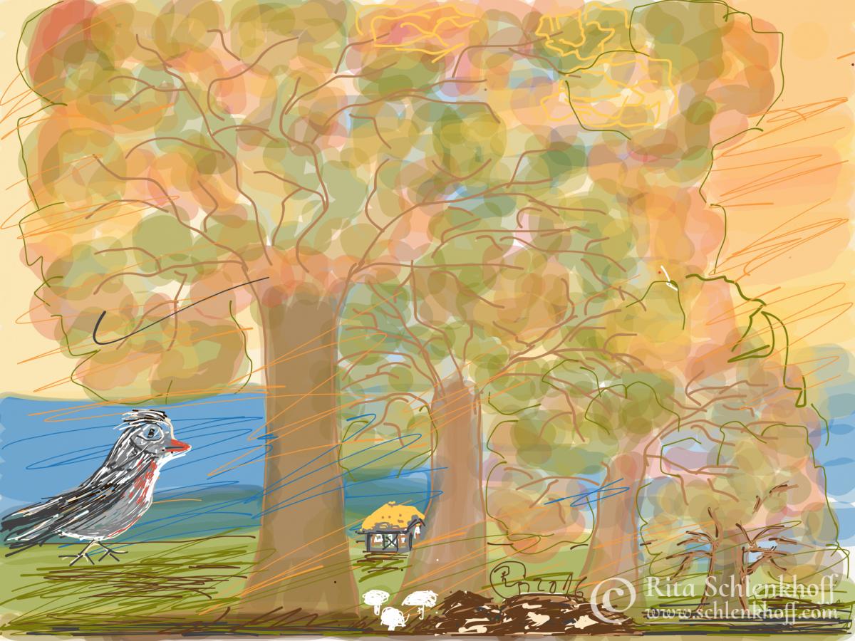 Fingerpainting Postkarte C 6, Herbstläufer