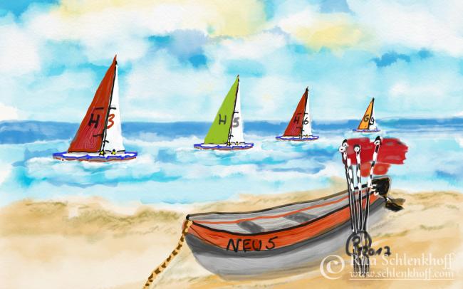 Fingerpainting Postkarte C 6, Fischerboot und Segler