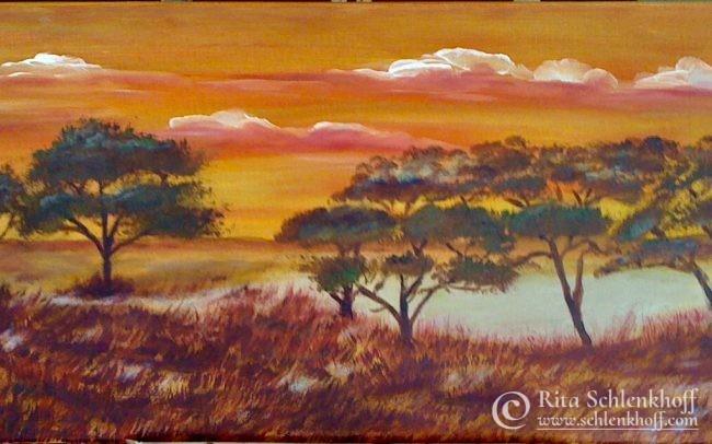 Acryl auf Leinwand 80 x 40 cm, Savanne