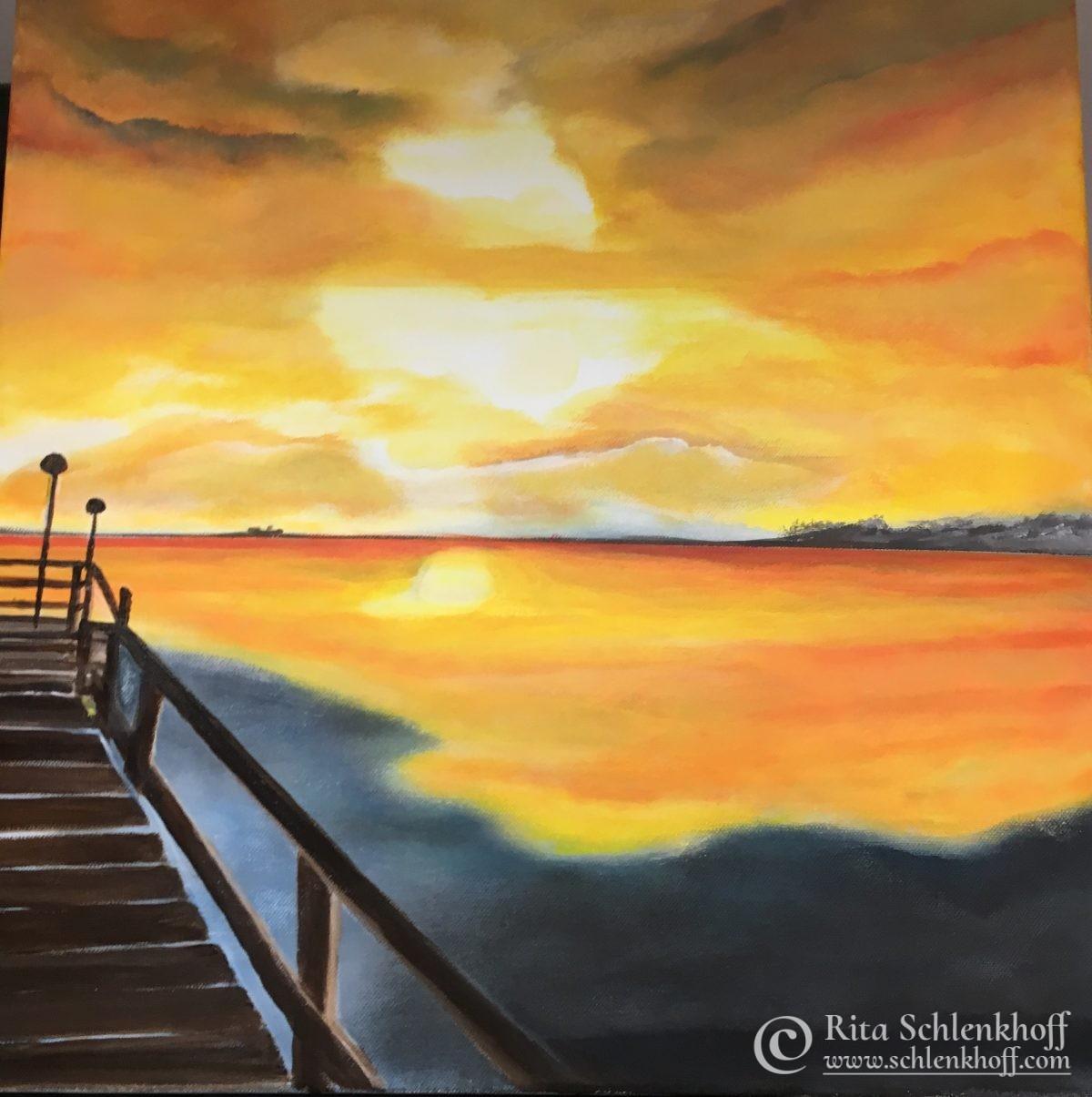 Acryl auf Leinwand 50 x 50 cm Sonnenuntergang Seebrücke Pelzerhaken