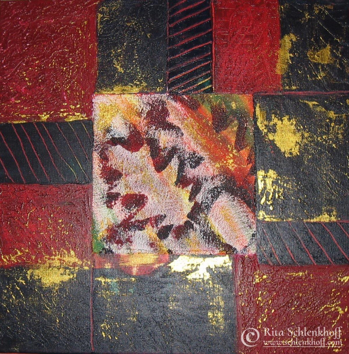 Acryl auf Leinwand 40 x 40 cm, gespachtelt, Herbststimmung
