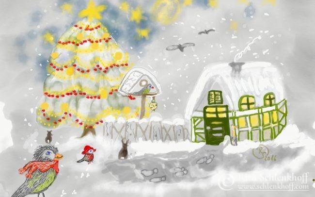 Fingerpainting Klappkarte DIN A 5, Fröhliche Weihnachten