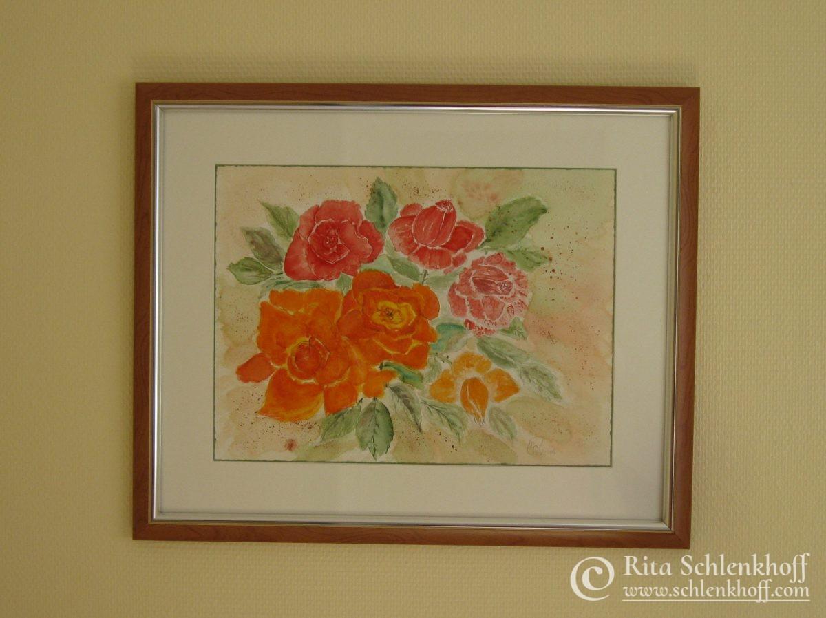 Aquarell mit Passepartout Format 50 x 60 cm