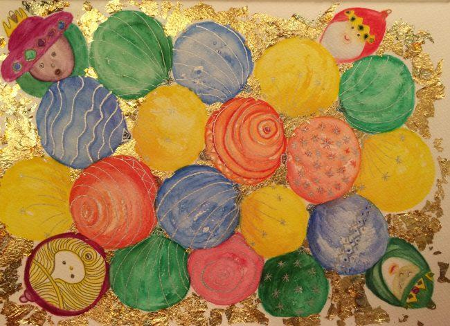 Aquarell Christbaumkugeln und Blattgold
