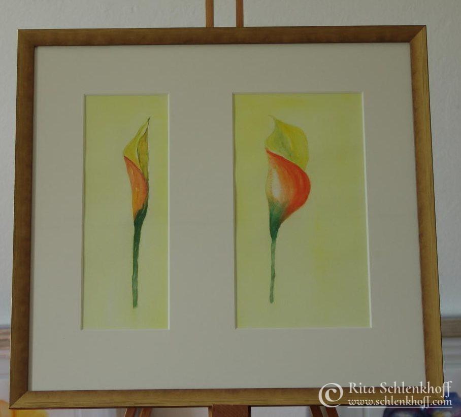 Aquarell mit Doppelpassepartout Format 60 x 50 cm