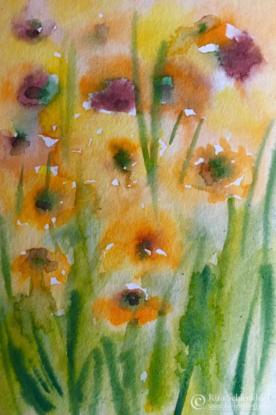 Sonnenblumen auf Aquarellpapier 250g/qm