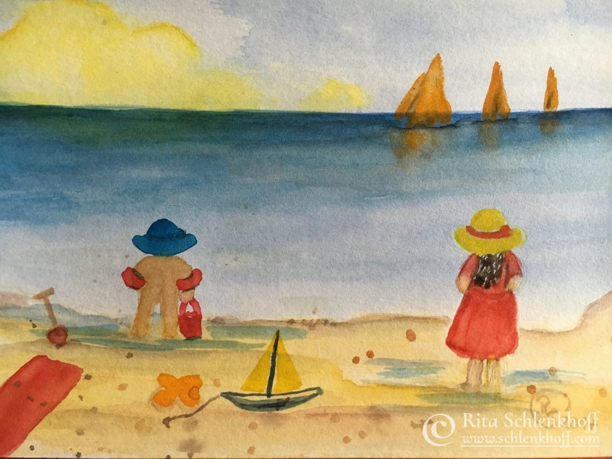 Aquarell Kinder am Strand, Format DIN A 5 (21 x 14,8 cm)